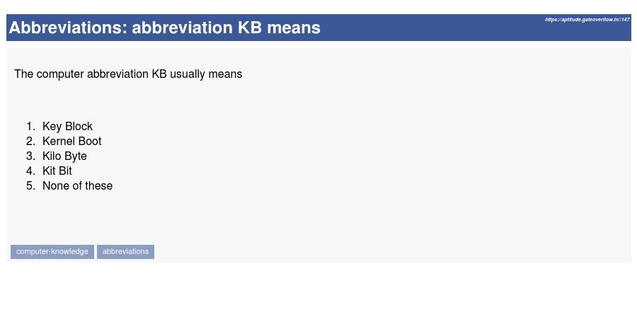 Abbreviation KB Means