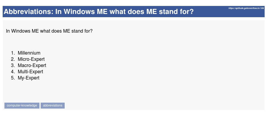 In Windows ME What Does Stand For