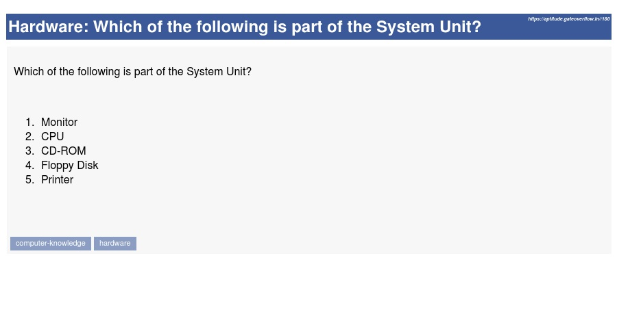 The Which Of The Following Is Not Part Of The System Unit