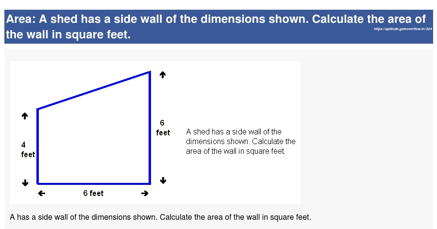 A shed has a side wall of the dimensions shown  Calculate