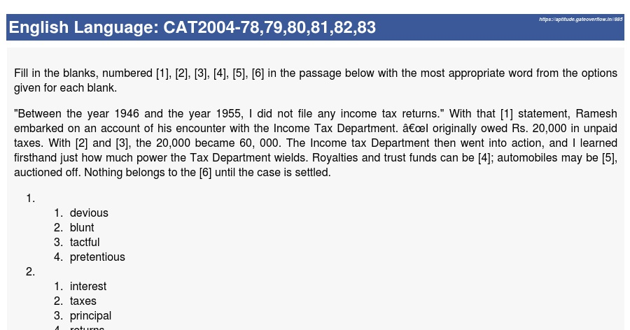 CAT2004-78,79,80,81,82,83 - Aptitude Overflow
